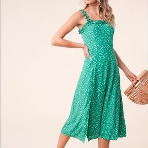 Sugarlips - Green retro polka dot midi dress